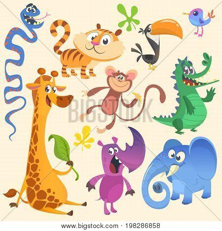 Cartoon African or jungle animal set. Wild cartoon cute animals collections . Vector illustration. Crocodile alligator giraffe monkey chimpanzee toucan rhino elephant bluebird snake tiger