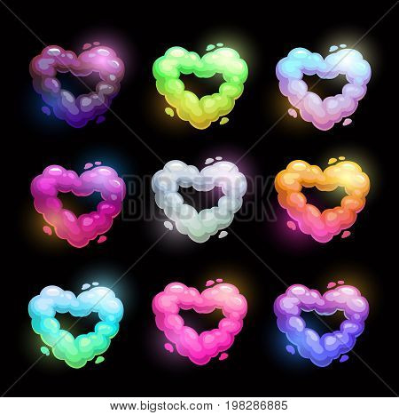 Colorful fluffy heart shape clouds. Vector love symbols set.