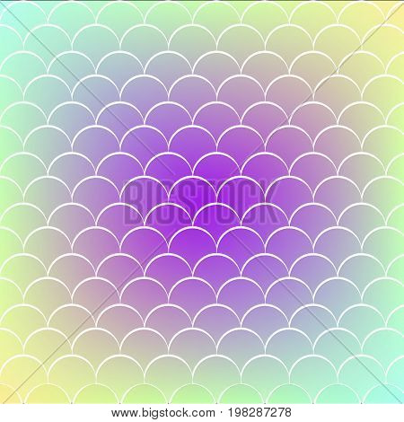 Fish skin on trendy gradient background. Square backdrop with fish skin ornament. Bright color transitions. Mermaid tail banner and invitation. Underwater and sea pattern. Rainbow colors.