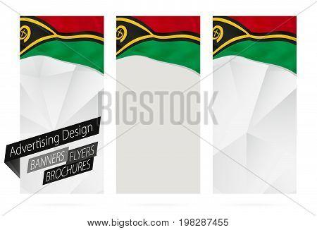 Design Of Banners, Flyers, Brochures With Flag Of Vanuatu.