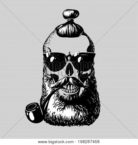 Skull. Hipster skull silhouette with mustache beard hairstyle tobacco pipe and glasses. Vector illustration. Perfect for t-shirt print and tattoo.