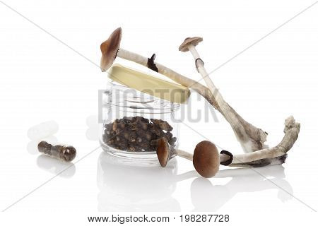 Dried and fresh Magic mushrooms in glass jar isolated on white background
