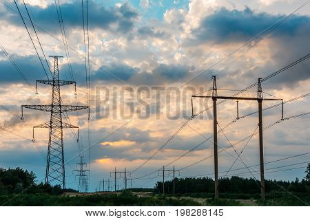 High voltage electricity pylons over sky Electricity pylons.