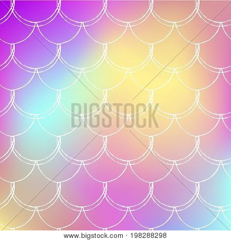 Mermaid tale on trendy gradient background. Square backdrop with mermaid tale ornament. Bright color transitions. Fish scale banner and invitation. Underwater and sea pattern. Rainbow colors.