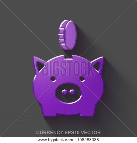 Flat metallic money 3D icon. Purple Glossy Metal Money Box With Coin icon with transparent shadow on Gray background. EPS 10, vector illustration.