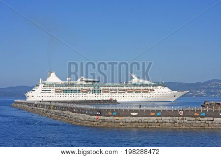 Cruise liner entering Victoria harbor on Vancouver Island