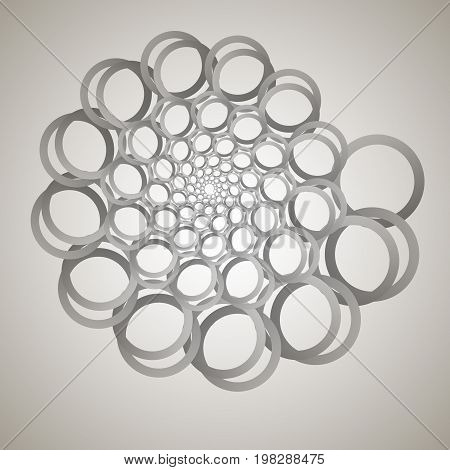 Swirl, Vortex Background. Rotating Spiral. Pattern Of A Whirling Of Hearts. Icon, Rings, Gradient, I