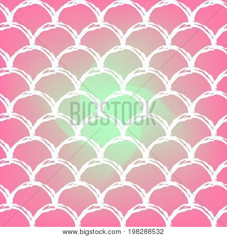 Mermaid scale on trendy gradient background. Square backdrop with mermaid scale ornament. Bright color transitions. Fish tail banner and invitation. Underwater and sea pattern. Warm peachy colors.