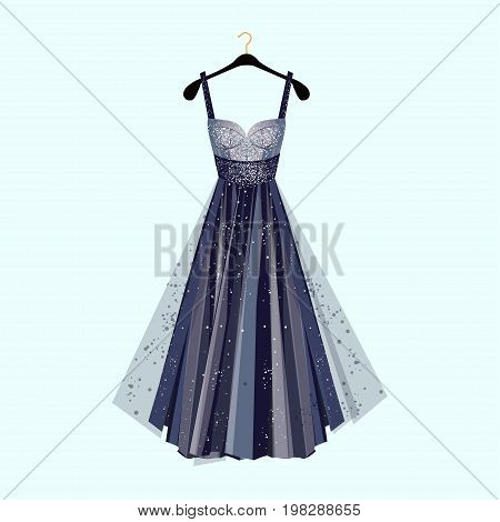 Long dress for special event. Dress with rhinestones Fashion vector illustration