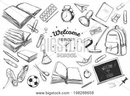 Welcome back to school vector collection. hand drawn elements. School supplies. Books, notebook, copybook, backpack, lamp, alarm clock, football, snickers, chalkboard, pencil, marker, eraser etc.