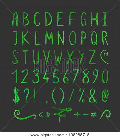 Hand drawn green watercolor font with punctuation marks on black background. Font contains question mark, exclamation point, period, comma, dash, hyphen, bracket, parenthesis. Vector illustration.
