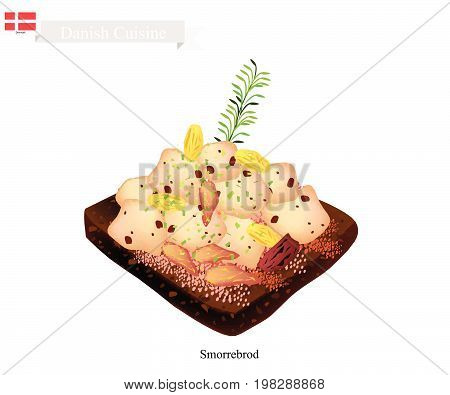 Danish Cuisine, Illustration of Smorrebrod or Traditional Buttered Rye Bread or Dark Rye Bread Topped with Roast Chicken and Fresh Dill. The National Dish of Denmark.