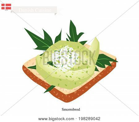 Danish Cuisine, Illustration of Smorrebrod or Traditional Buttered Rye Bread or Dark Rye Bread Topped with Sliced Avocado. The National Dish of Denmark.