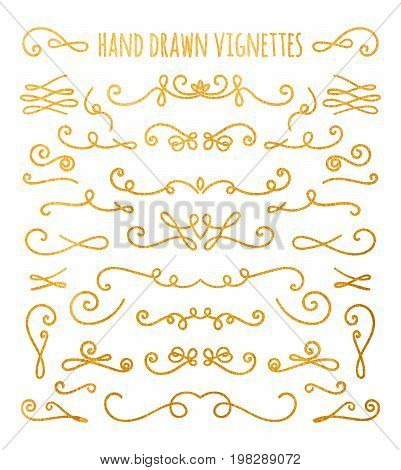 Set of gold textured hand drawn vignettes on white background. Elegant vintage calligraphic borders and dividers for greeting card, retro party, wedding invitation. Vector illustration.