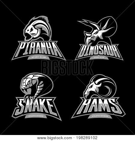 Furious piranha, ram, snake and dinosaur head sport vector logo concept set isolated on black background.  Modern team mascot badge design. Premium quality wild animal t-shirt tee print illustration.