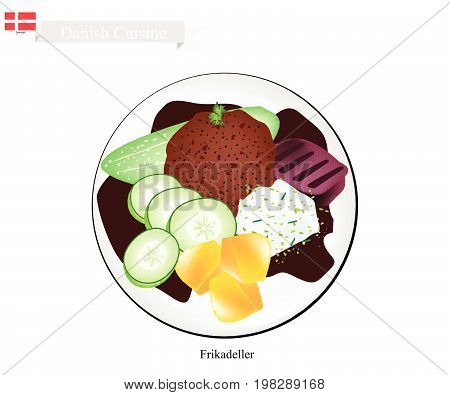 Danish Cuisine, Illustration of Frikadeller or Traditional Pan Fried Ground Beef Patty Served with Boiled Potatoes, Cucumber and Gravy or Creamed Cabbage. One of The Most Famous Dish in Denmark.