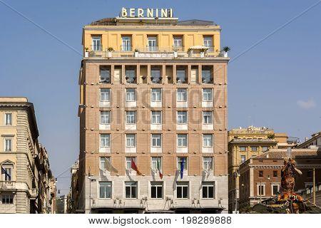 Rome Italy march 25 2017: The Bernini Bristol Hotel with the triton statue in Rome Italy