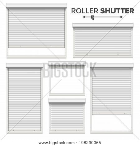White Roller Shutters Vector. Window, Door, Garage, Storage Roller Shutters. Opened And Closed. Front View