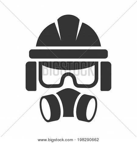 Builder Safety Helmet, Protection Glasses, Respirator and Headset Icon. Vector illustration