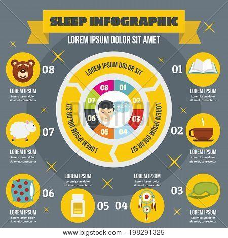 Sleep infographic banner concept. Flat illustration of sleep infographic vector poster concept for web