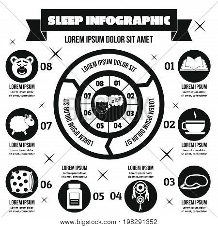 Sleep infographic banner concept. Simple illustration of sleep infographic vector poster concept for web