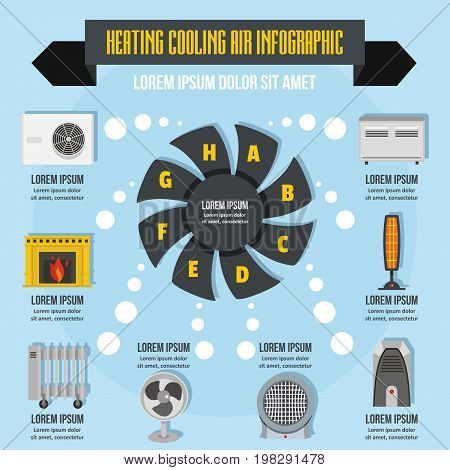 Heating cooling air infographic banner concept. Flat illustration of geating cooling air infographic vector poster concept for web