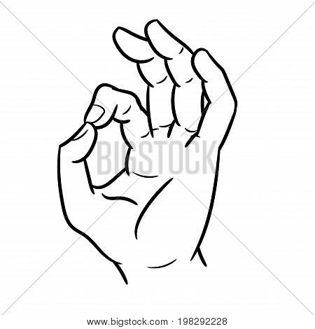 Hand drawn sketch of hand gesture okey Black and White simple line Vector Illustration for Coloring Book - Line Drawn Vector