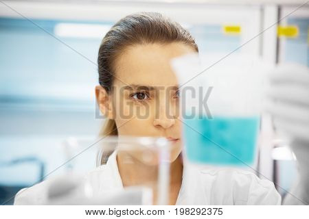 Researcher woman in lab, doctor in university