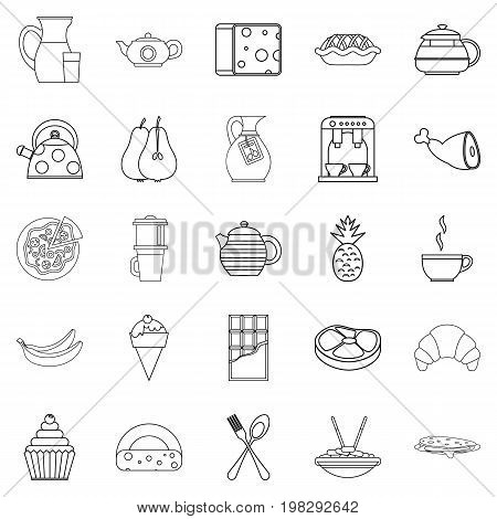 Feeding icons set. Outline set of 25 feeding vector icons for web isolated on white background