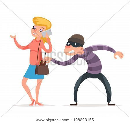 Mask Criminal Male Stealing Thief Purse from Hapless Female Girl Character Isolated Icon Cartoon Design Template Vector Illustration