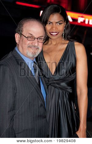 NEW YORK - APRIL 21: Author Salman Rushdie (L) and actress Pia Glenn attend the Vanity Fair party for the 2009 Tribeca Film Festival at the State Supreme Courthouse on April 21