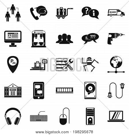 Headset icons set. Simple set of 25 headset vector icons for web isolated on white background