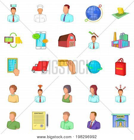 Distributive trades icons set. Cartoon set of 25 distributive trades vector icons for web isolated on white background