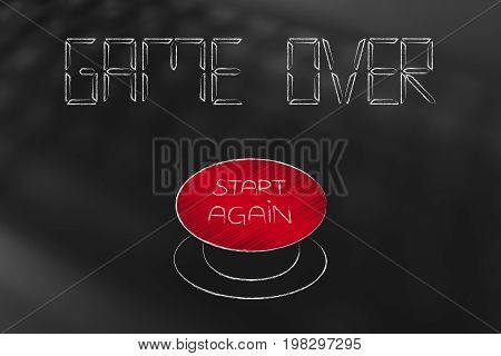 game over restart reboot start over change modify decision option alternative issue problem strouble solution beginning try game videogame metaphor conceptual keyboard digital technology internet web online device challenge
