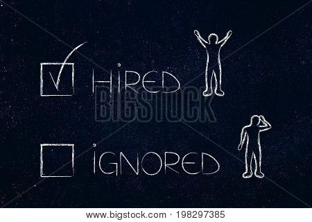 Hired Or Ignored Multiple Choice With Happy And Sad Candidates