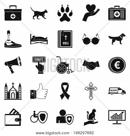 Welfare icons set. Simple set of 25 welfare vector icons for web isolated on white background