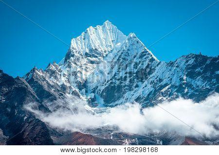 Mountain peak Everest. Everest highest mountain in the world. National Park Nepal.
