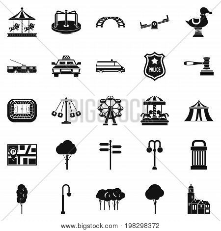 Urban recreation park icons set. Simple set of 25 urban recreation park vector icons for web isolated on white background