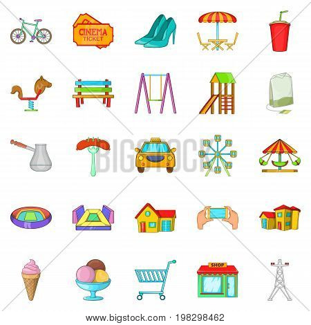 Playground icons set. Cartoon set of 25 playground vector icons for web isolated on white background
