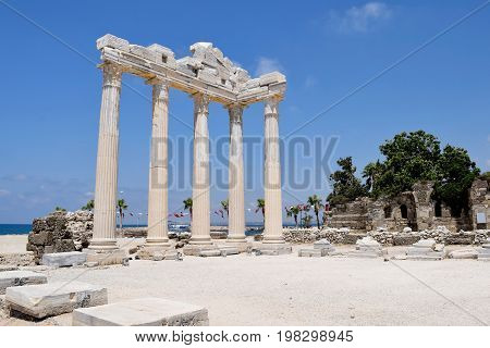 The ruins of the Temple of Apollo in Side, Turkey