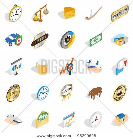 Currency icons set. Isometric set of 25 currency vector icons for web isolated on white background