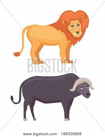 African animals cartoon vector set. lion and buffalo safari isolated illustration