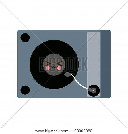 kawaii music dj party turntable technology vector illustration