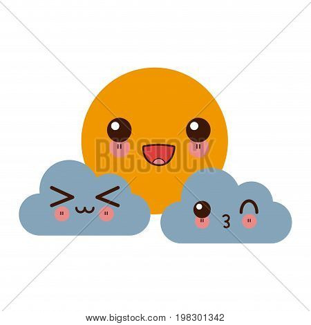 kawaii sun clouds weather forecast cartoon vector illustration