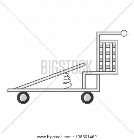 Cargo cart with spring icon. Cartoon illustration of cargo cart with spring vector icon for web design