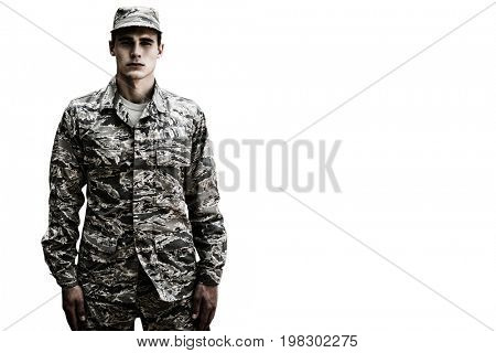 White background with vignette against portrait of military soldier standing