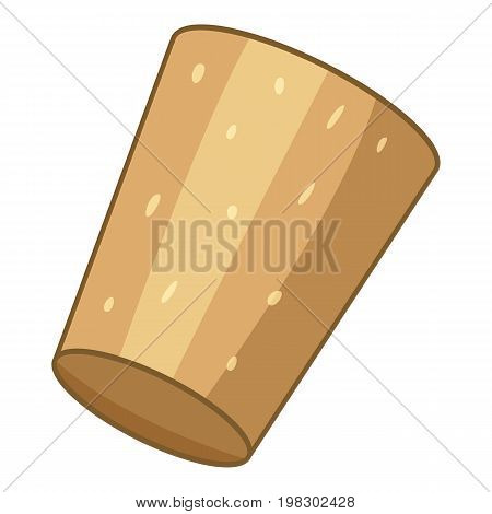 Brown cork plug icon. Cartoon illustration of brown cork plug vector icon for web design