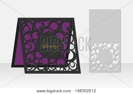 Card with circle geometric pattern for laser cutting. Silhouette design. It is possible to use for birthday invitations, presentations, greetings, holidays, celebrations, save the day wedding. Vector illustration.
