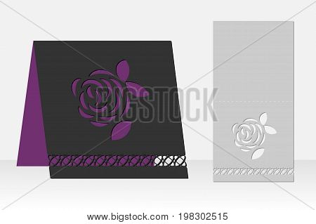 Greeting card with rose flower laser cutting. Silhouette design. It is possible to use for birthday invitations, presentations, greetings, holidays, celebrations, save the day wedding. Vector illustration.