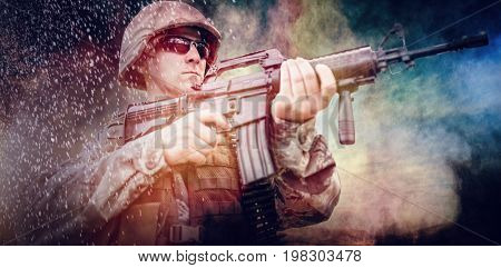 Wheat field against military soldier steady to shoot